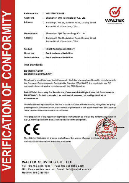 Porcellana Guangzhou QH Technology Co., Ltd Certificazioni